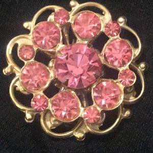 Pink crystals vintage brooch pin